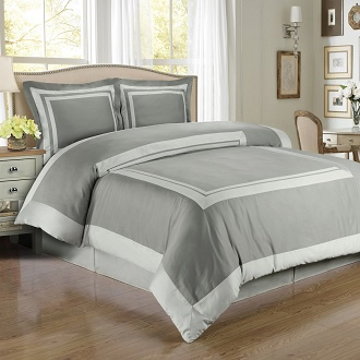 Hotel Gray And Light 3 Piece Full Queen Comforter Cover Duvet Set