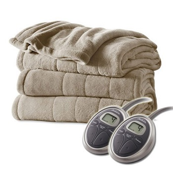 sunbeam-queen-size-heated-blanket-luxurious-velvet-plush-with-2-digital-controllers-and-auto-off-feature-5yr-warranty-mushroom-beige