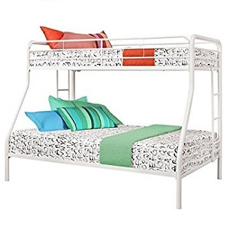 STURDY KIDS TWIN OVER FULL METAL BUNK BED WITH STAIRS