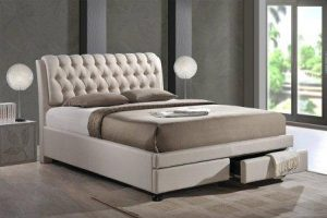 Baxton Studio Ainge Contemporary Button-Tufted Fabric Upholstered Storage Bed