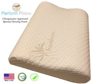 Medium Profile Memory Foam Neck Pillow – Double Contour – Chiropractor Approved – Washable Soft Bamboo Cover – Great for Neck Pain, Sleeping (Medium)