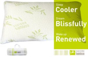 Supreme Bamboo Down Alternative Pillow with Memory Foam Liner Soft Comfort Stay Cool Bamboo Fabric Washable Zipper Case (King)
