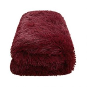 CaliTime Super Soft Blanket Throw, Modern Cozy Plush Warm Faux Fur 60 X 80 Inches, Burgundy