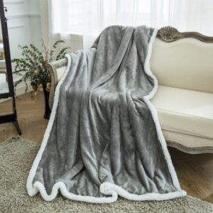 LANGRIA Luxury Sherpa Flannel Fleece Reversible Blanket Lightweight Extra Soft Skin-Friendly Fabric All Seasons Comfort Blanket for Couch Sofa Easy Care (50″ x 60″, Grey)