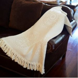 Throw Blanket for Couch Adults Kids Bed 100% Natural Cotton Decorative Throw with Handmade Fringe Tassels – 88″L x 60″W (Beige)