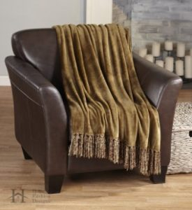 Ultra Velvet Plush Super Soft Blanket in Solid Colors. Lightweight, Warm Throw Blanket with Decorative Fringe. Raya Collection by Home Fashion Designs Brand. (Mocha)