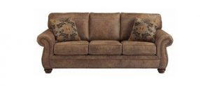 Ashley Furniture Signature Design – Larkinhurst Traditional Sleeper Sofa – Queen Size – Faux Weathered Leather – Earth (Top Pick)