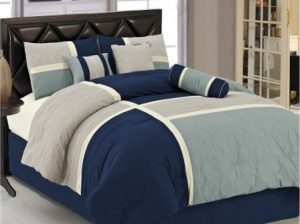Show Chezmoi Collection 7 Piece Quilted Patchwork Comforter Set, King,  BlueGray