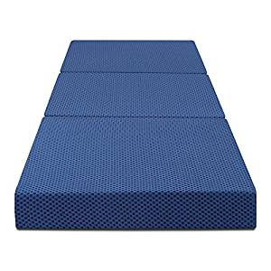 "Olee Sleep Tri-Folding Memory Foam Mattress, Blue, 4"" H"