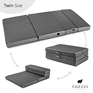 Trifold Foam Folding Mattress – Lightweight and Portable Multi-Purpose Spare Bed and Kids Mat – Compact and Easy Storage – Zip Off Cover – 4″ Thick – By Cozzzi