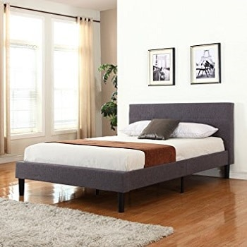 Divano Roma Furniture Tufted King Platform Bed Frame with Wooden Slats
