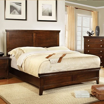 Dunhill Transitional Style Brown Cherry Finish Bed Frame Set