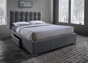 Baxton Studio Sarter Contemporary Grid-Tufted Fabric Upholstered Storage Bed with 2 Drawers