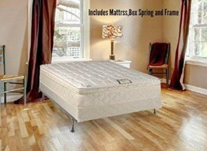 Spring Solution Long Lasting 10 Pillowtop Fully Assembled Orthopedic Back Support Twin Mattress and Box Spring With Bed Frame, Deluxe Collection
