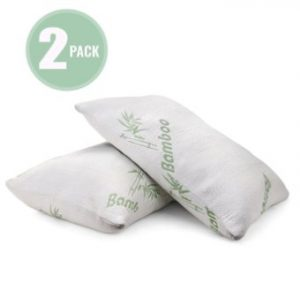 Plixio Bamboo Cooling Shredded Memory Foam Pillow with Hypoallergenic Cover- 2 Pack Queen