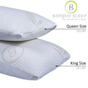 Set of 2 Bamboo Sleep Premium Bamboo Memory Foam Pillow Ultra Cool Hypoallergenic Washable Bamboo Cover USA Designed (Queen)