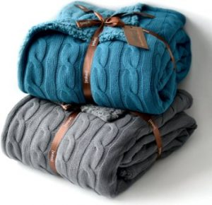 Cable Knit Sherpa Oversized Throw Reversible Blanket Faux Sheepskin Lined Cozy Cotton Blend Sweater Knitted Afghan in Grey White or Turquoise Blue (Grey)
