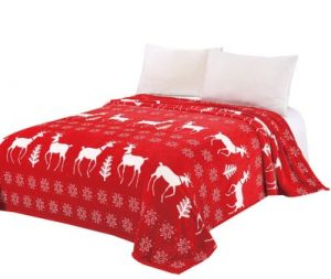 CaliTime Super Soft Throw Blanket for Bed Sofa Couch, Cozy Warm Flannel Fleece Christmas White Reindeer Snowflakes, Red, Throw