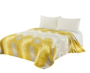CaliTime Super Soft Throw Blanket for Bed Sofa Couch, Cozy Warm Flannel Fleece Luxury Peacock Feathers, Gold Grey, Queen
