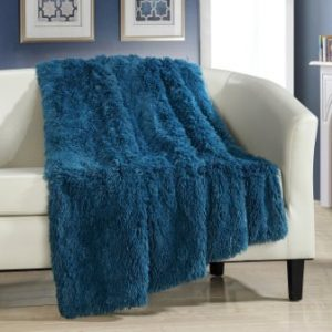 Chic Home Elana Shaggy Faux Fur Super Soft Ultra Plush Decorative Throw Blanket, 50 x 60″, Teal