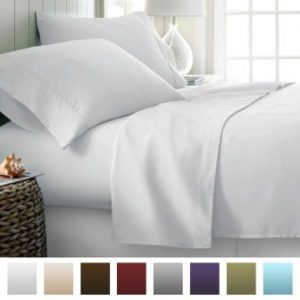 IENJOY HOME BECKHAM LUXURY SOFT BRUSHED BED SHEET SET, HYPOALLERGENIC, DEEP POCKET