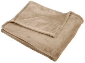 Pinzon Velvet Plush Throw Blanket, 50″ x 60″, Sand