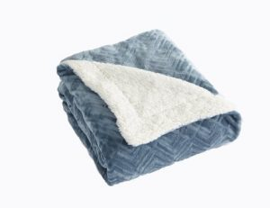 Premium Reversible Berber and Sculpted Velvet Plush Luxury Blanket. High-End, Soft, Warm Sherpa Bed Blanket. By Home Fashion Designs Brand. (Full Queen, Blue Surf)