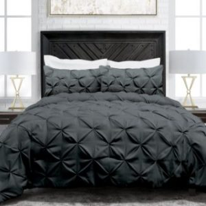 LUXURIOUS 2//3PC COMFORTER SET SOLID SOFT PINTUCK QUILTED BED COVER PILLOW SHAMS