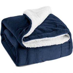 Sherpa Throw Luxury Blanket Navy Blue Twin Size 60″x80″ Reversible Fuzzy Microfiber All Season Blanket for Bed or Couch by Bedsure