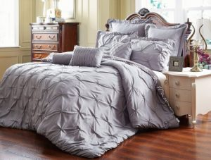 UNIQUE HOME 8 PIECE REVERSIBLE PINCH PLEAT COMFORTER SET FADE RESISTANT, WRINKLE FREE, NO IRONING NECESSARY, SUPER SOFT