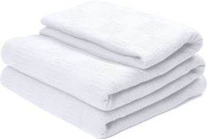 Utopia bedding 100% Premium Woven Cotton Blanket (King, White) Thermal Cotton Throw Blanket and Quilt for Bed & CouchSofa
