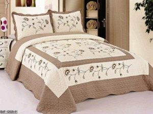 3pcs High Quality Fully Quilted Embroidery Quilts Bedspread Bed Coverlets Cover Set, Queen King (BeigeTaupe)