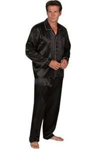 ALEXANDER DEL ROSSA MENS SATIN PAJAMAS, LONG BUTTON-DOWN PJ SET