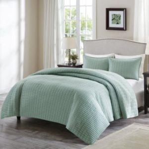 Comfort Spaces – Kienna Quilt Mini Set – 3 Piece – Seafoam – Stitched Quilt Pattern – King size