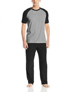 Hanes Men's Adult X-Temp Short Sleeve Tagless Cotton Raglan Shirt and Pants Pajamas PJs Sleepwear Lounge Set