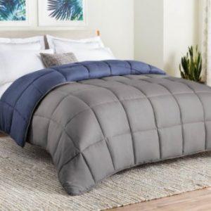 LINENSPA All-Season Reversible Down Alternative Quilted Comforter – Corner Duvet Tabs – Navy Graphite – Queen