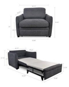 Modern Functional Lift and Pull Out Single Couch Sofa Bed Futon Easy to Transform for Small Space