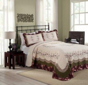 Modern Heirloom Collection Brooke Cotton Filled Bedspread, King, 120 by 118-Inch
