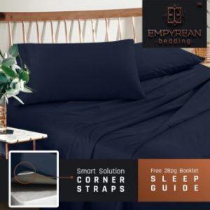 Premium King Size Sheets Set – Dark Navy Blue Hotel Luxury 4-Piece Bed Set