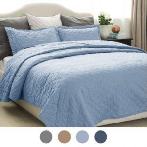 Quilt Set Solid Grayish Blue Twin Size(68″x86″)2 Piece Coverlet Set by Bedsure