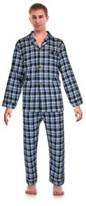 Robes King Mens Flannel Checkered Two-Piece Pajamas