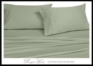 Royal's Solid Sage 1000 Thread Count 4pc Top-Split-King Adjustable Top Split King Size Bed Sheet