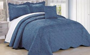 Serenta Damask 4 Piece Bedspread Set, King, Palace Blue