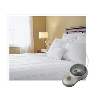Sunbeam Thermofine Quilted Striped Heated Electric Mattress Pad