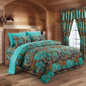 The Woods Teal Camouflage King 8pc Premium Luxury Comforter, Sheet, Pillowcases, and Bed Skirt Set