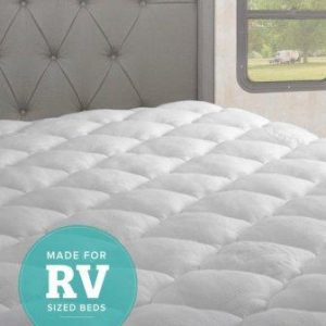 eLuxurySupply RV Mattress Pad – Extra Plush Bamboo Topper with Fitted Skirt