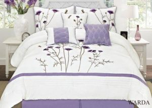 Fancy Collection 7-pc Embroidery Bedding Lavender Comforter Set