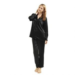 533d6d019 ... LUXUER Women s Handmade Pure Mulberry Silk Pajama Set Classic Luxury