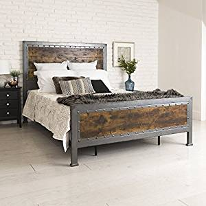 New Rustic Queen Industrial Wood and Metal bed – Includes Head and Footboard