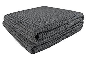PHF Waffle Weave Blanket 100% Cotton King Size Charcoal